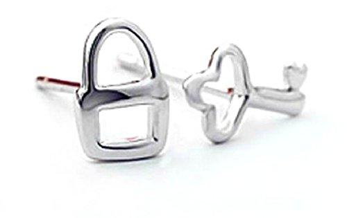 Sterling Silver lock&key Stud Earrings (Lock And Key Costume)