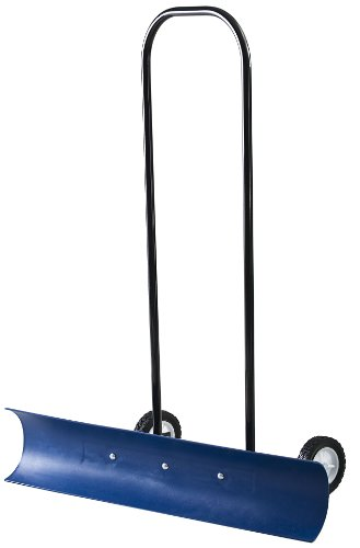 Review The Snowcaster 30SNC 36-Inch Bi-Directional Wheeled Snow Pusher, Blue