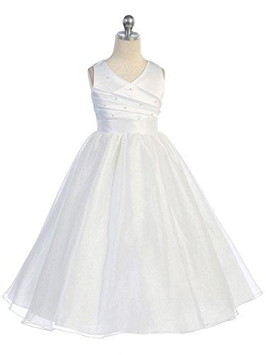 Fashion Plaza Girls Satin Organza Flower Girl Pageant Communion Dress K0066 10 White