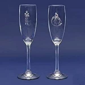 Cinderella & Prince Set of Wedding Champagne Flutes (Not for use. Decorative only)