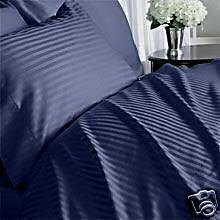 Stripes Navy 600 Thread Count Full (Double Bed) Size Sheet Set 100 % Egyptian Cotton 4Pc Bed Sheet Set (Deep Pocket) By Sheetsnthings front-996996