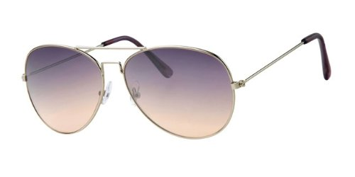 Silver Metal Frame Aviator Gradient Purple Lens