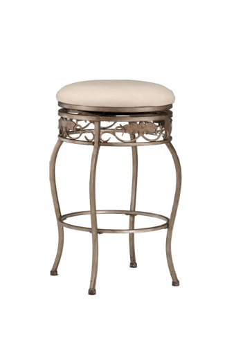 Hillsdale Bordeaux 26-Inch Backless Swivel Counter Stool, Pewter with Bronze Finish, Off-White Fabric