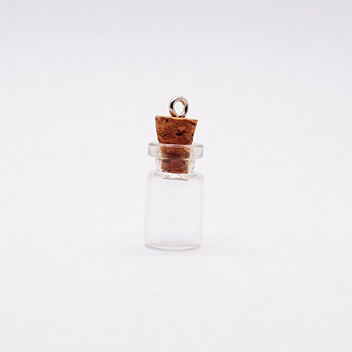 20 3/4-Inch Small Glass Bottles Message Treasure Charm Pendant DIY Kit For Necklace Weddings Wish Jewelry Mini Glass Bottles with Corks (Charm Bottles compare prices)