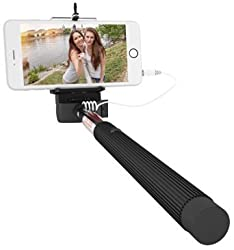 New Year Deal Week - Mazichands Wired Selfie Stick for iPhone 6, 6 plus, 5 5s 5c, Galaxy s6 edge s5 s4, Android Smartphone - Extendable Cable Selfies/Selfy Best Sticks(Monopod) w/ Universal Cell Phone Mount - No Bluetooth & Battery Free
