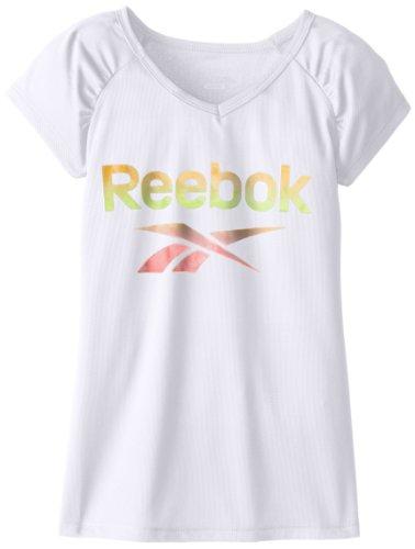 Reebok Big Girls' Short Sleeve Shirred Raglan Top, White, Medium front-477909