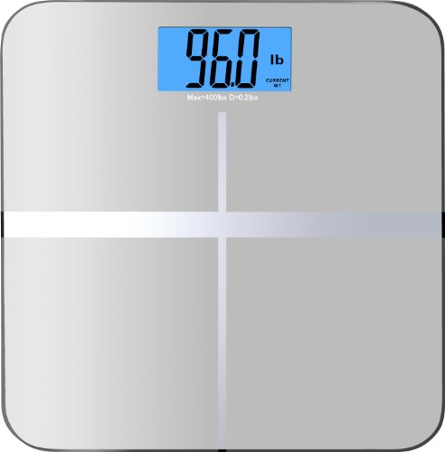"BalanceFrom High Accuracy Premium Digital Bathroom Scale with 3.6″ Extra Large Dual Color Backlight Display and ""Smart Step-On"" Technology [NEWEST VERSION] (Silver)"