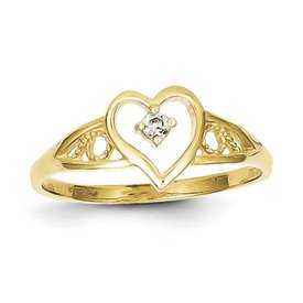Genuine IceCarats Designer Jewelry Gift 10K Heart Cz Ring Size 6.00
