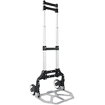 VIVO Aluminum Folding Hand Truck Assistant Telescoping Dolly Cart 165 lb Carrying Capacity (CART-FHT1)
