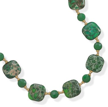 14/20 Gold Filled Green Jasper and Jade Necklace