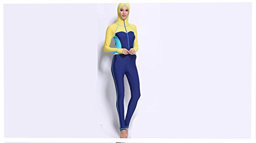 [AZSHARAA ms. conjoined swimsuit hooded wetsuit Surf served swimsuit swimming training (yellow, XL)] (Full Body Costumes Sydney)