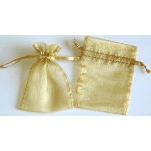 48 Organza Drawstring Pouches Gift Bags 4x5 - Gold