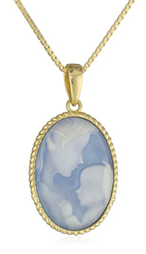 18k Gold Plated Sterling Silver Blue Agate Mother and Child Cameo Pendant Necklace, 18