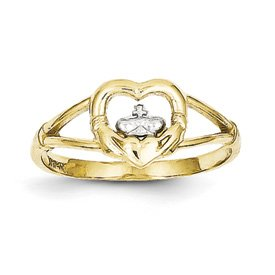 Genuine IceCarats Designer Jewelry Gift 10K & Rhodium Ladies Claddagh Ring Size 6.00
