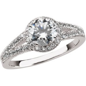 3/8 ct tw Vintage Semi-Set Diamond Engagement Ring