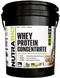 NutraBio 100% Whey Protein Concentrate WPC80 (Unflavored) - 15 Pounds