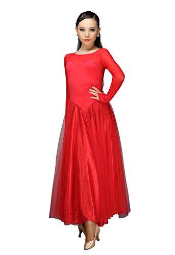 [M9103 StarDance Women's Ballroom Smooth Showcase Practise Dance Costume Dress (L(US size 4), Red)] (Dancesport Standard Costume)