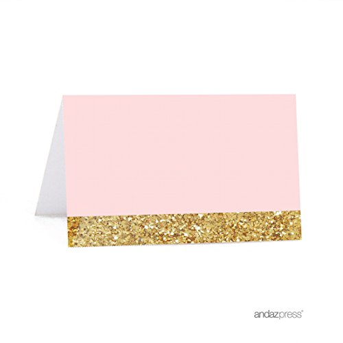 Andaz Press Blush Pink Gold Glitter Print Wedding Collection, Printable Table Tent Place Cards, 20-Pack, For Dessert Candy Table Catering Stations Signage