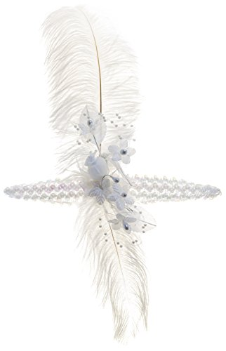 Linda Ann's White Flapper Girl Feather Flower sequin Headband