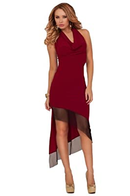 Hot from Hollywood Women's Halter Length Deep V Neckline Draped Waist Dress