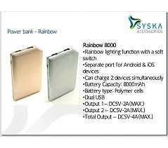 Syska Rainbow 8000mAh Power Bank