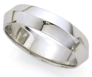 Rounded-Interior Knife Edge Wedding Band In 14K White Gold (7Mm)