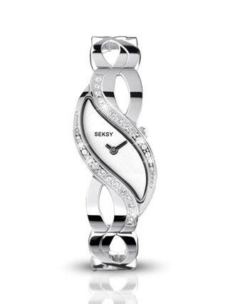 Seksy by Sekonda Ladies White Sparkle Dial Crystal Stone Set Bracelet Watch 4275
