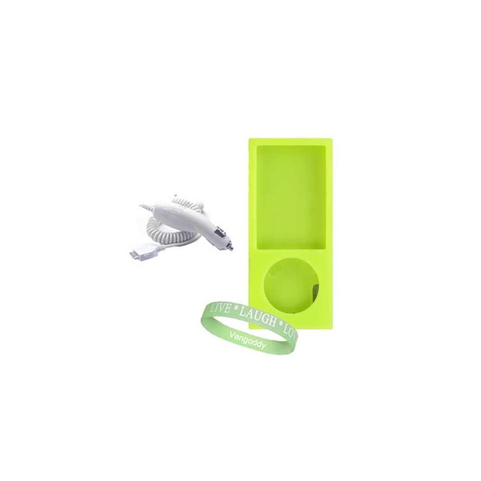 Apple Ipod Nano 8 GB / 16 GB 5th Generation 5G ( Newest Version ) Green Silicone Skin Case cover + Ipod Nano 5G Car Charger + Vangoddy ?, Live*Laugh*Love wrist band