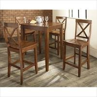 Crosley Furniture KD520005CH 5 Piece Pub Dining Set with Tapered Leg and X-Back Stools in Classic Cherry Finish