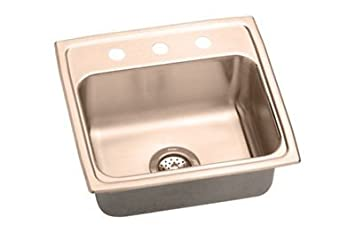 Elkao|#Elkay LRAD2022500-CU Elkay 18 Gauge Cuverro Antimicrobial copper 19.5 Inch x 22 Inch x 5 Inch single Bowl Top Mount Sink,
