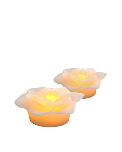 Candle Impressions Flameless Candle Set of 2 Floating Flowers, White