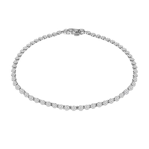 Pave Prive 9ct White Gold with White Diamonds Thin Circle Tennis Bracelet of 19.05cm
