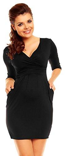 Zeta Ville - Women's Maternity Wrap Nursing V-neck Dress Pockets UK 8-20