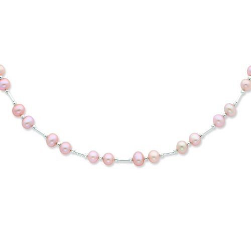 Silver 6-6.5mm Pink Freshwater Cultured Pearl Necklace. 18in long Necklace.