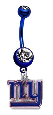 New York Giants NFL PREMIUM Dark Blue Titanium Anodized Sexy Belly Button Navel Ring at Amazon.com