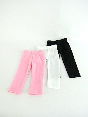 White Plain, Plain Black, and Pink Plain Leggings Set of 3 | Fits 18