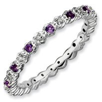 0.31ct Silver Stackable Amethyst & Diamond Ring. Sizes 5-10 Available