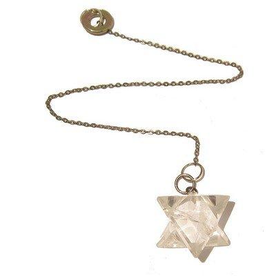 Quartz Pendulum 07 Star of David Clear Silver Reiki Energy Crystal Healing