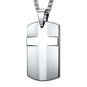 Mens Cross Tungsten Dog Tag Pendant Steel Necklace Chain Jewelry