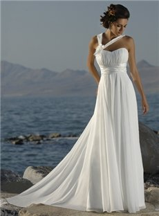 Informal Beach Wedding Dresses Side Halter Chapel Train Empire T