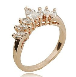 Slyq Jewelry 18K Rose Gold Plated Italina Womens Crown Clear Zircon Jewelry Rings