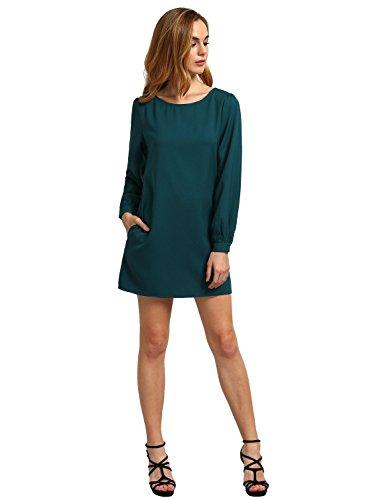ROMWE-Womens-Round-Neck-Long-Sleeve-Casual-Shift-Work-Wear-Dress