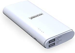 AFENDO® 16000mAh Ultra-Kompakt tragbare Ladegerät Pack Externe Mobile Backup Batterie USB- Ausgang Portable smart Starker Power Bank (Externer Akku-Pack und Ladegerät) Dual USB (2,1 A / 1,0 A Ausgang) mit hoher Kapazität Notfall Ladegerät für iPad, iPad 2,3, iPhone 6, 5S, 5C, 5, 4S, 4, 3Gs 3G, 3, iPod, Blackberry, HTC, Android, Samsung, Nokia, Sony, Motorola, alle Generationen Mp3 Mp4 Player und Smart Phones und Bluetooth-Lautsprecher, Bluetooth-Kopfhörer, die meisten Bluetooth-Geräte 5V und anderen digitalen Geräten (Apple-Adapter-30-Pin-und lightning, nicht enthalten) mit 18 Monate Herstellergarantie (weiß)