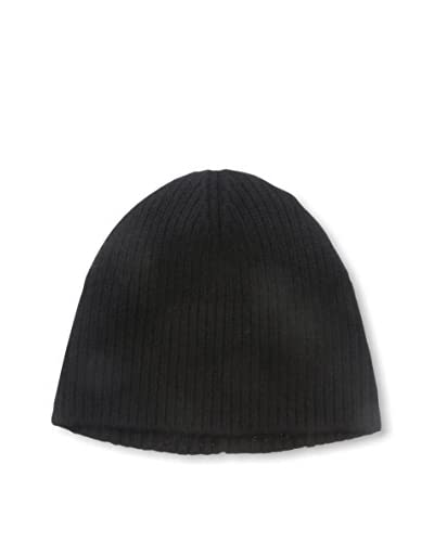 Portolano Men's Cashmere Hat Needle Ribbed Beanie, Black