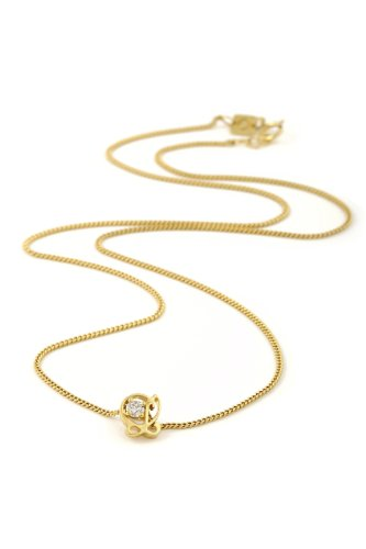 Oak Fine Jewellery 18ct Gold Vermeil 0.10ct Diamond Pendant with L is For Love 18 Inch Chain