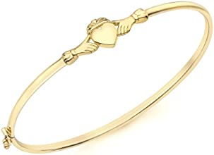 Carissima Gold 9 ct Yellow Gold Claddagh Bangle