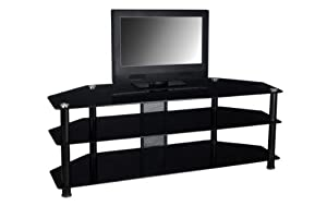 "Large Flat Screen TV Console (Black) (22.5""H x 60""W x 17""D)"