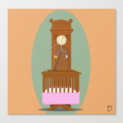 Society6 - Baby Swing Clock Design Stretched Canvas By Gazonula