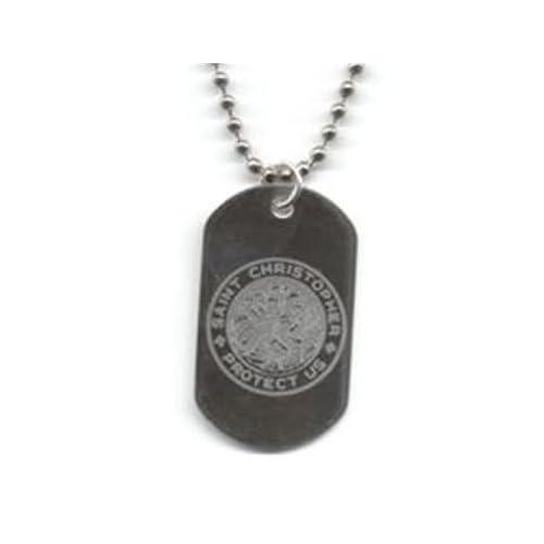""": Get Back Designs """"St. Christopher"""" Laser Engraved Dog Tag Necklace"""