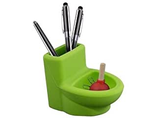 4 inch toilet and plunger pen paper clip holder office decor green home kitchen. Black Bedroom Furniture Sets. Home Design Ideas